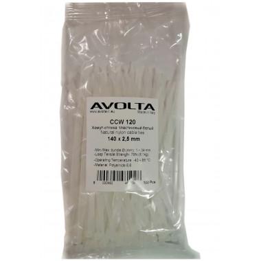 Хомут-стяжка пластиковый белый 140 х 2,6 мм d=25 (упак 100 шт)