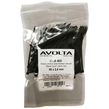 Хомут-стяжка пластиковый черный 80 х 2,4 мм d=15, (упак 100 шт)
