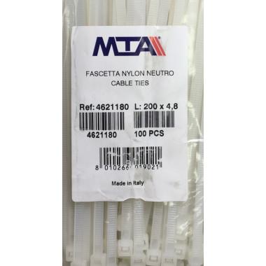 Хомут-стяжка пластиковый белый 200 х 4,8 мм d=50