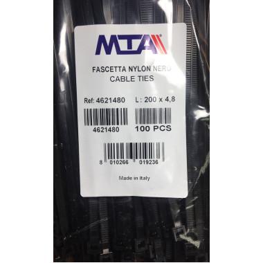 Хомут-стяжка пластиковый черный 200 х 4,8 мм d=50