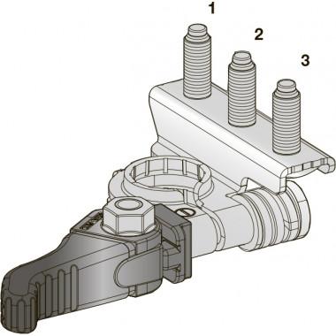 Клемма АКБ SX CuZn-Sn - с зажимом, три шплинта М6-М6-М6