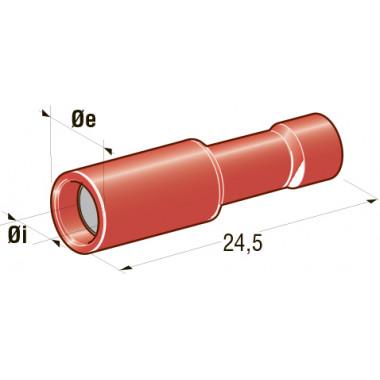 Клемма изолированная цилиндрическая мама d=4 CuZn-Sn PVC, сечение провода 0,25-1, шт