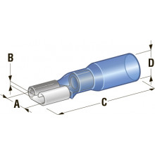 Клемма мама в термоусадке d=6,35 CuZn-Sn PE сечение провода 1,25-2,5