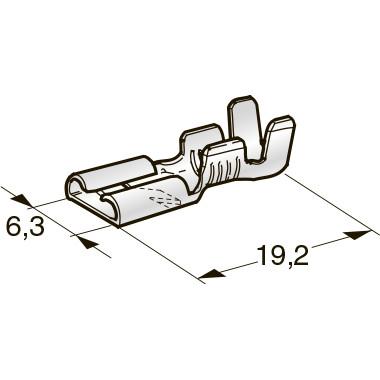 """Клемма неизолированная с замком гнездо 6,3 CuZn-Sn """"мама"""", сечение провода 1-2,5, шт (MT-0,35)"""