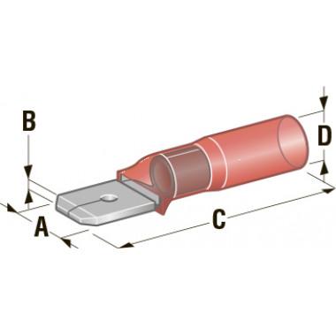Клемма папа в термоусадке d=6,35 CuZn-Sn PE сечение провода 0,75-1,25
