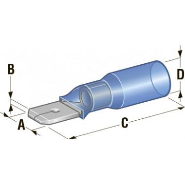 Клемма папа в термоусадке d=6,35 CuZn-Sn PE сечение провода 1,25-2,5