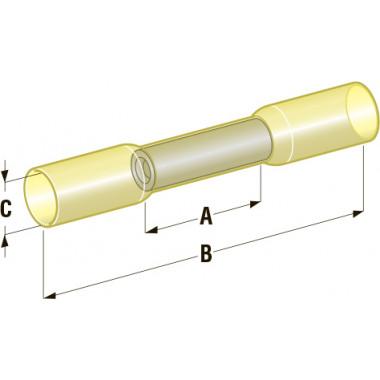Клемма соединитель в термоусадке d=6,4 Cu-Sn PE сечение провода 2,5-6
