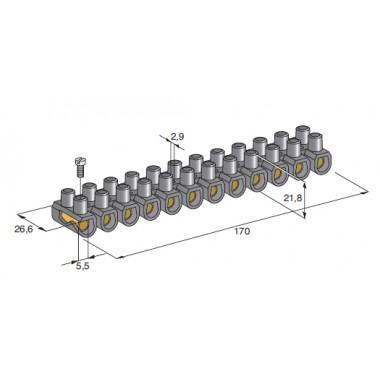Колодка электрическая клеммная 12 каналов 450V 24A под сечение провода 16