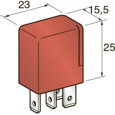 Реле MICRO 12V 20A 4-х контактное (красное) 30A, шт