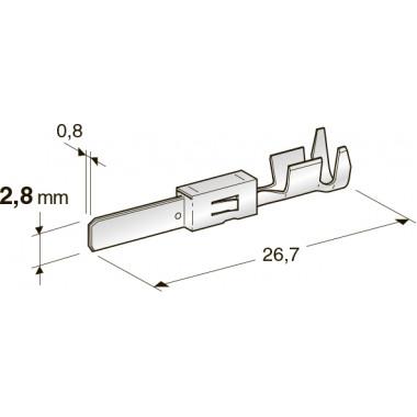 Клемма не изолированная JPT 2,8 CuSn-Sn папа, сечение провода 0,5-1,5