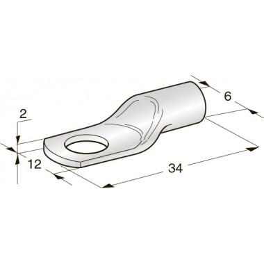 Клемма неизолированная кольцевая TUBOLAR M6 Cu-Sn сечение провода 16