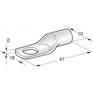 Клемма неизолированная кольцевая TUBOLAR M8 Cu-Sn сечение провода 35