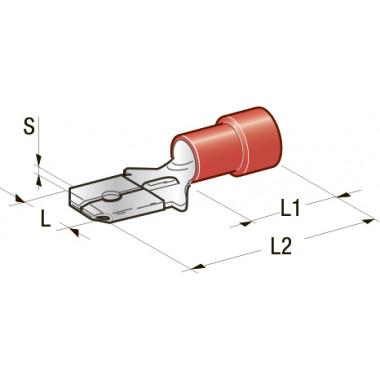 Клемма изолированная Cu-Zn PVC папа, сечение провода 0,25-1