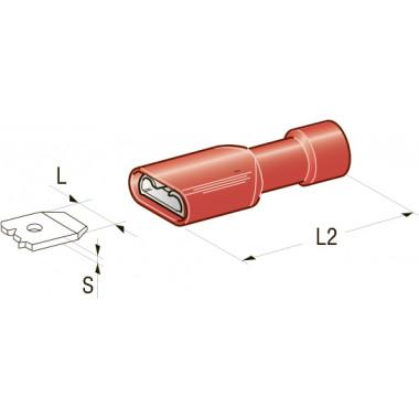 Клемма изолированная CuZn-Sn PVC мама, сечение провода 0,25-1  (S- 0,8 ,L-6,3 ,L1 ,L2-23,5)