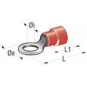 Клемма изолированная кольцевая Cu-Sn PA66, сечение провода 0,25-1, шт (Di-4,3 ,De-6,6 ,L1-20,1 ,L2-10,5)