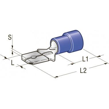Клемма изолированная 6,3 CuZn-Sn PVC папа, сечение провода 1-2,5