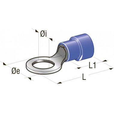 Клемма изолированная кольцевая d=6,4 Cu-Sn PA66, сечение провода 1-2,5