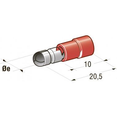 Клемма изолированная цилиндрическая папа d=4 CuZn-Sn PVC, сечение провода 0,25-1, шт