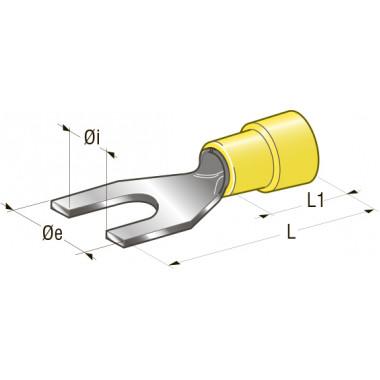 Клемма вилочная изолированная d=6,4 Cu-Sn PA66 сечение провода 2,5-6