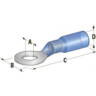 Клемма кольцевая в термоусадке d=6,4 Cu-Sn PE сечение провода 1,25-2,5