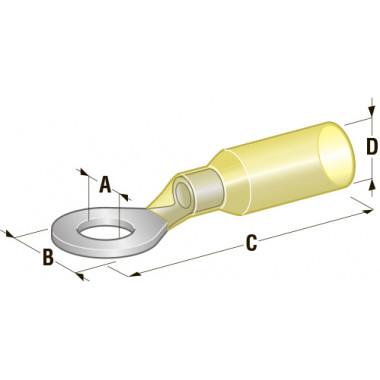 Клемма кольцевая в термоусадке d=6,4 Cu-Sn PE сечение провода 2,5-6