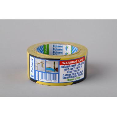 Клейкая сигнальная лента Folsen 50мм x 33м, желто-чёрная, PVC