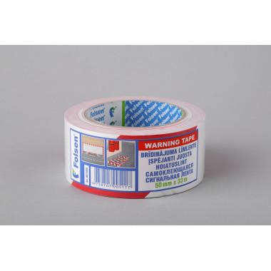 Клейкая сигнальная лента Folsen 50мм x 33м, красно-белая, PVC